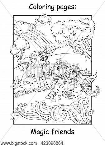 Coloring Book Page Unicorn Met A Mermaid On A Seahorse
