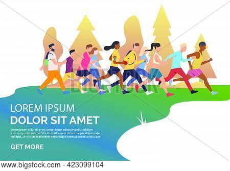 Slide Page With People Running Marathon Vector Illustration. Competition, Contest, Jogging. Sport Co