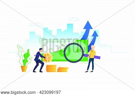 Woman Examining Banknote, Man Counting Coins Vector Illustration. Auditor, Financial Planning, Accou