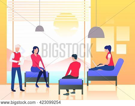 Business People Sitting In Office Lounge. Discussion, Session, Group Therapy. Meeting Concept. Vecto
