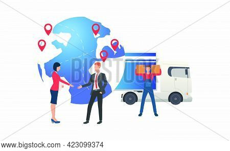 Earth Globe With Pointers, Delivery And Meeting Business People. Transportation, Vehicle, Freight Co