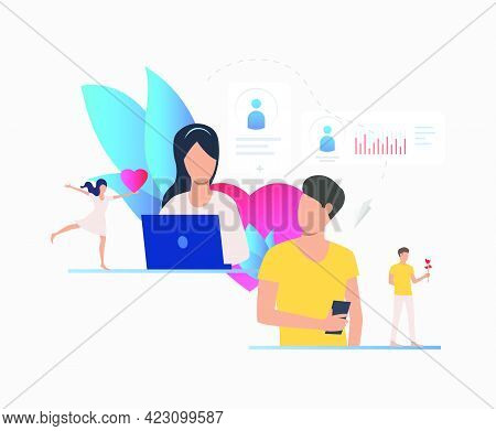 Man And Woman Texting Messages On Dating Site. Technology, Love, Communication Concept. Vector Illus
