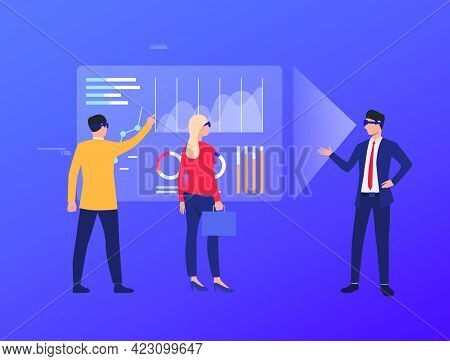 Men And Woman Wearing Virtual Reality Glasses And Working. Future, Vr, Cyberspace Concept. Vector Il