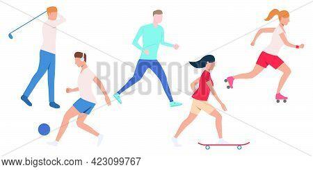Set Of Active People Doing Sport. Crowd Of Men And Women Enjoying Outdoor Activities. Vector Illustr