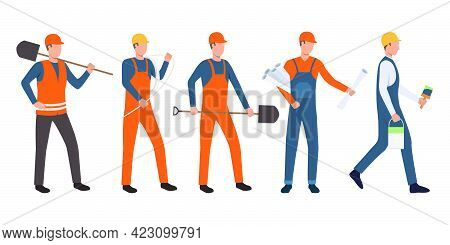 Set Of Builders, Architect, Electrician, Painter And Handymen Working. Group Of Men Wearing Uniform