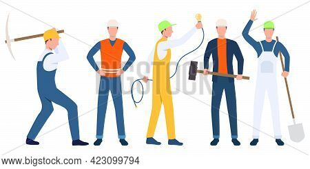 Set Of Builders, Electrician And Handymen Working. Group Of Men Wearing Uniform And Holding Tools. V