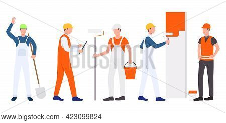 Set Of Builders, Foreman, Painters And Handymen Working. Group Of Men Wearing Uniform And Holding To