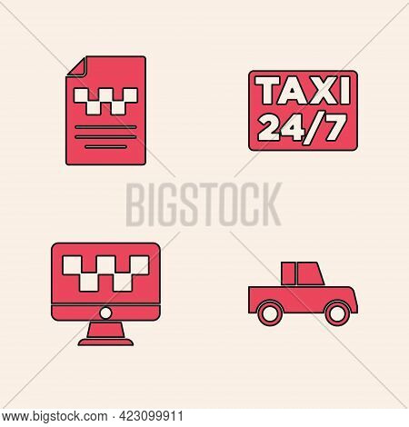 Set Car, Taxi Driver License, Location With Taxi And Computer Call Service Icon. Vector