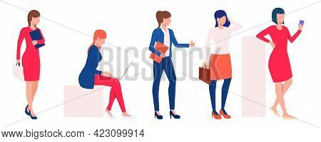 Set Of Modern Business Ladies Performing Tasks. Cartoon Collection Of Busy Women At Work. Vector Ill