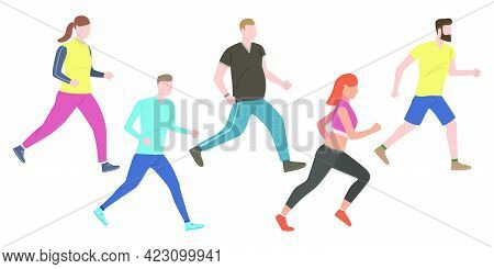 Set Of Outdoor Joggers. Group Of Active People In Sportswear Training Outdoors. Vector Illustration