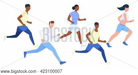 Set Of Young Multiethnic Runners. Group Of Girls And Boys Jogging Outdoors. Vector Illustration Can