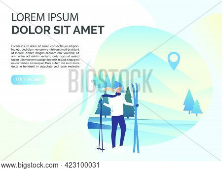 Skier Woman, Snowy Landscape And Sample Text. Tourism, Winter, Leisure Concept. Presentation Slide T