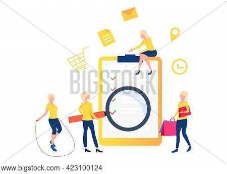 Women With Loupe, Skipping Rope And Bags Standing At Check List. Browser, Search, Application. Onlin