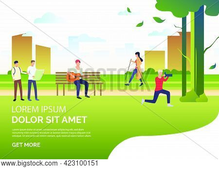 People Doing Sports And Relaxing In City Park, Sample Text. Relaxation, Activity, Lifestyle Concept,