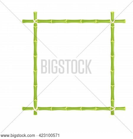 Green Bamboo Frame, Border With Rope In Cartoon Style. Exotic Hawaiian, Asian Decoration. Empty Natu