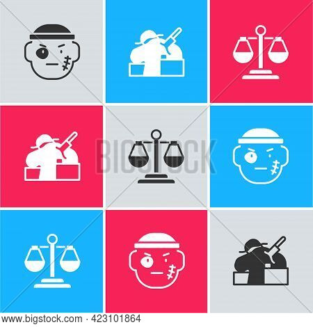 Set Bandit, Murder And Scales Of Justice Icon. Vector
