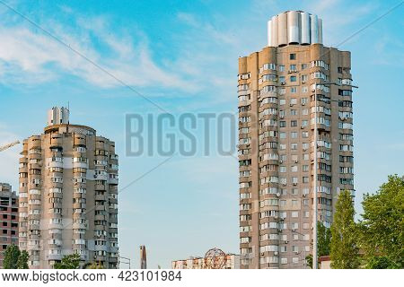 Old Soviet Chaotic Rounded Multi Storey Building. Facade. Urban. City. Residential Complex. Ussr. De