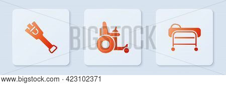 Set Electric Wheelchair, Prosthesis Leg And Stretcher. White Square Button. Vector