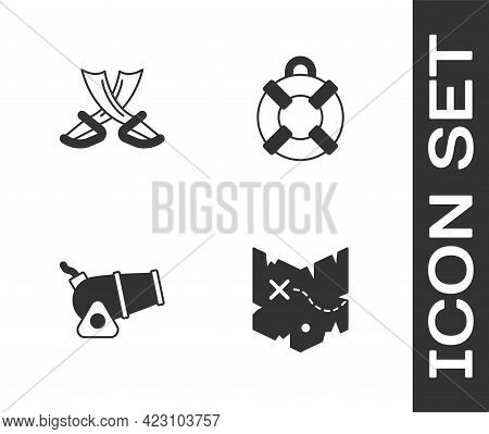 Set Pirate Treasure Map, Crossed Pirate Swords, Cannon And Lifebuoy Icon. Vector