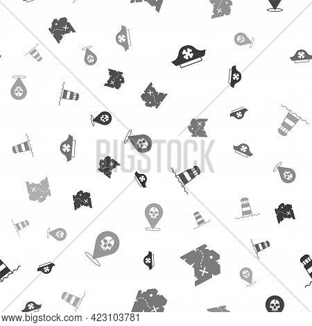 Set Pirate Hat, Treasure Map, Lighthouse And Location Pirate On Seamless Pattern. Vector