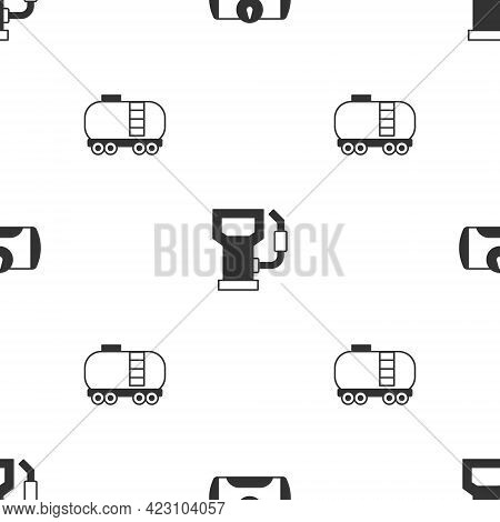 Set Gas Tank For Vehicle, Petrol Gas Station And Oil Railway Cistern On Seamless Pattern. Vector