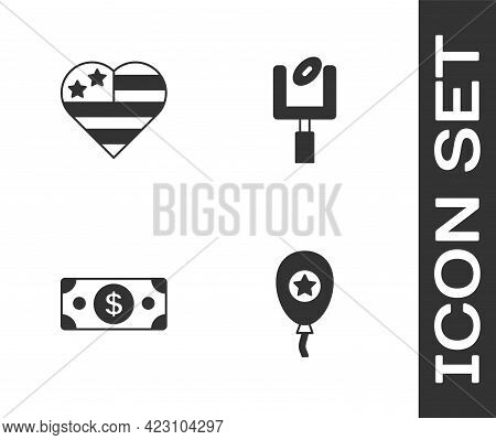 Set Balloons, Usa Independence Day, Stacks Paper Money Cash And American Football Goal Post Icon. Ve