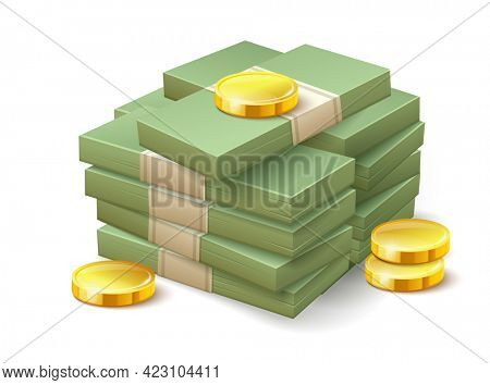 Paper money bundle and gold coins. Simple cartoon icon. Stock isolated on white transparent background. Illustration.