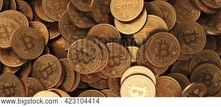 Bitcoin Crypto currency coins background. BTC Gold bitcoin Bit Coins bitcoins. Bitcoins mining concept, Blockchain money technology. 3d rendered illustration