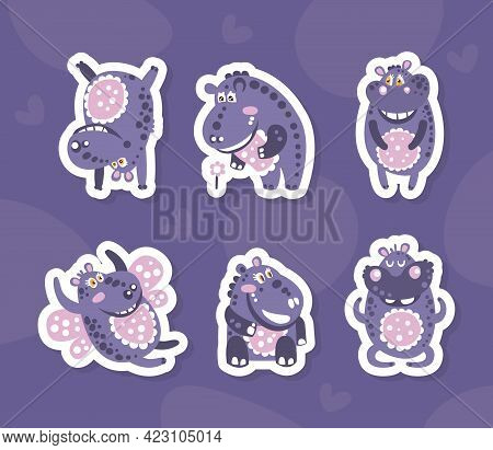 Cute Hippo Stickers Collection, Adorable Funny Hippopotamus Baby Characters With Smiling Faces Vecto