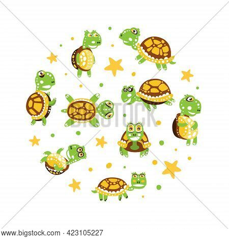 Happy Green Turtle With Shell Arranged In Circle Vector Illustration