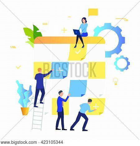 Business People Scheduling Work Tasks. Staff, Scheduling, Teamwork Concept. Vector Illustration Can
