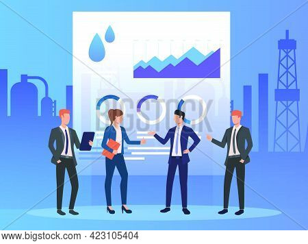 Business People Working And Discussing Issues, Diagrams. Negotiations, Management, Oil Industry Conc