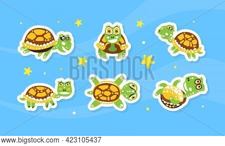 Happy Green Turtle With Shell On Starry Background Vector Sticker Set