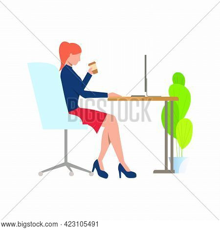 Businesswoman Drinking Coffee And Using Pc Vector Illustration. Office Worker, Networking, Internet