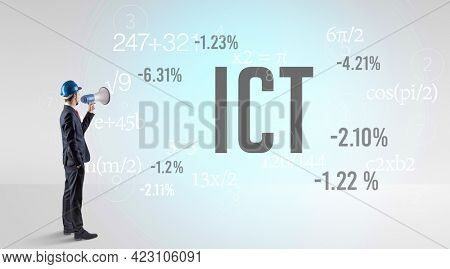 Engineer in hard hat with abbreviation ICT