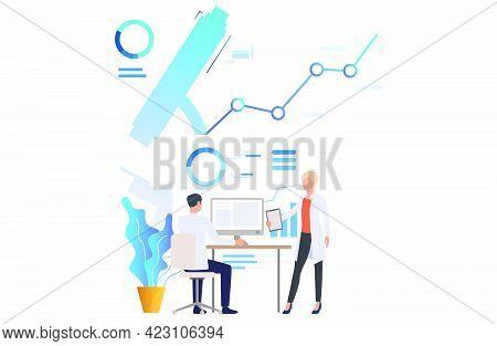Male And Female Medics Examining Scientific Data Vector Illustration. Scientific Research, Analysis,
