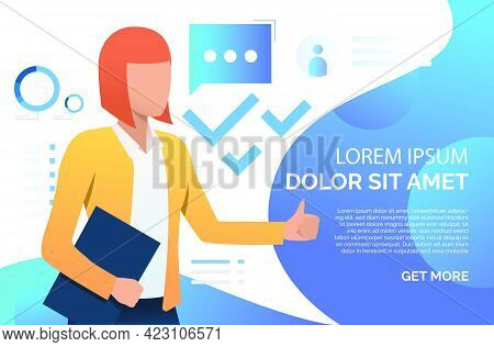 Woman Showing Thumb Up, Recommending Business Product. Representative, Promotion Concept. Presentati
