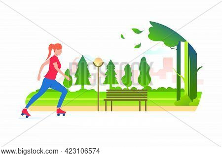 Woman Skating In Park With Distant Buildings In Background. Lifestyle, Activity, Leisure Concept. Ve