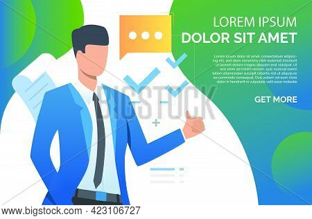 Man Showing Thumb Up And Recommending Business Product. Recommendation, Promotion Concept. Presentat