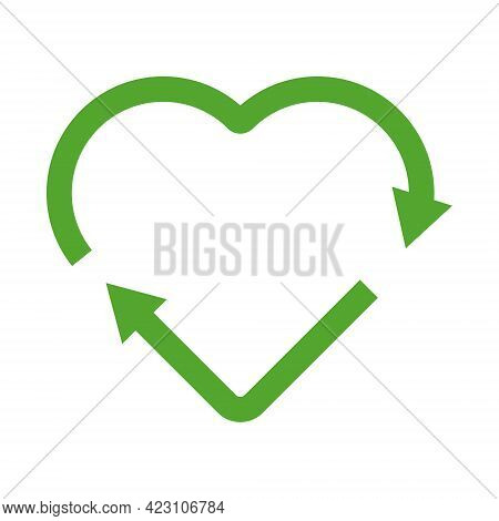 Green Heart Shape Recycle Icon. Reuse, Renew, Recycling Materials, Concept. Eco Friendly Concept.