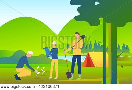 People Holding Spades And Planting Trees In Wild Nature. Eco, Ecosystem, World, Landscape Concept. V