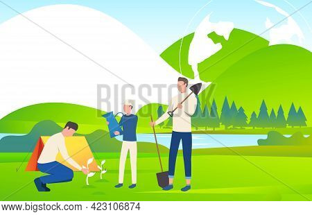 People Holding Watering Can, Spades And Planting Trees. Eco, Ecosystem, World, Landscape Concept. Ve