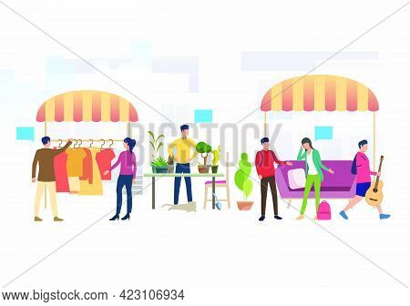 People Shopping And Selling Clothes And Plants Outdoors. Buying, Street, Retail, Marketplace Concept