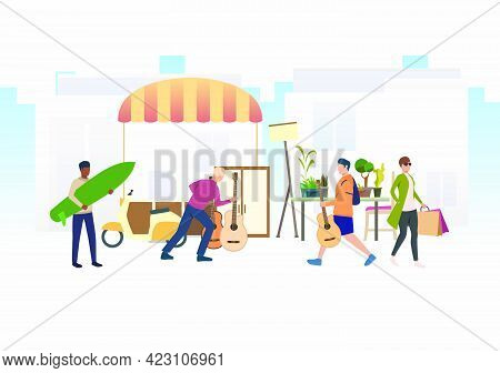 People Shopping And Walking Outdoors. Buying, Street, Retail, Marketplace Concept. Vector Illustrati