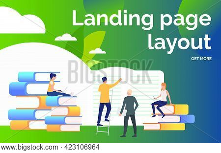 People Studying Books Presentation Slide. Writers, Printing House, Library. Business Concept. Vector