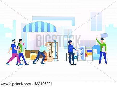 People Walking And Shopping Outdoors. Buying, Street, Retail, Marketplace Concept. Vector Illustrati