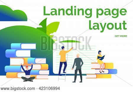 People Working On Books Presentation Slide. Writers, Printing House, Library. Business Concept. Vect