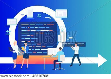 Professional Group Working On Project. Process, Work On Computer, Integration. Business Concept. Vec