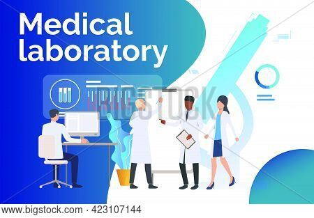 Scientists Analyzing Medical Data Vector Illustration. Medical Test, Scientific Research, Biotechnol