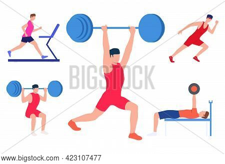 Set Of Men Training Body. Male Lifting Weights And Running. Sport Concept. Vector Illustration Can B